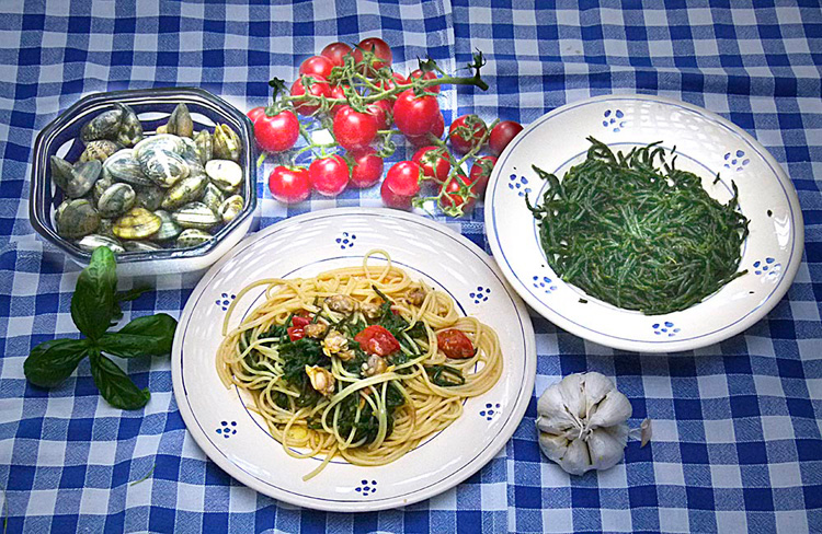 Spaghetti with clams and samphire